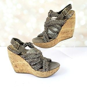 Steve Madden Cork Wedge Sandals 7.5 Gray Suede